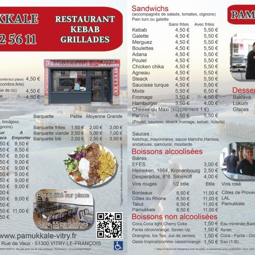 Flyer menu d'un restaurant